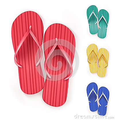 Free Set Of Realistic Colorful Flip Flops Beach Slippers Stock Images - 51381514