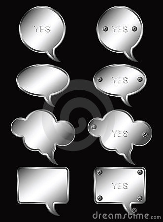 Free Set Of Realistic Metallic Speech Bubbles. Vector I Stock Photo - 22443050