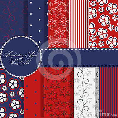 Free Set Of Red And Blue Paper For Scrapbook Royalty Free Stock Images - 24441489