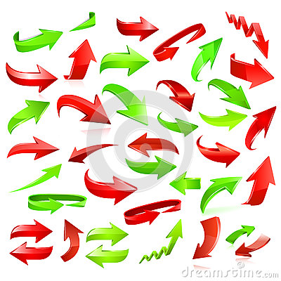 Free Set Of Red And Green Arrows Stock Photography - 36554062
