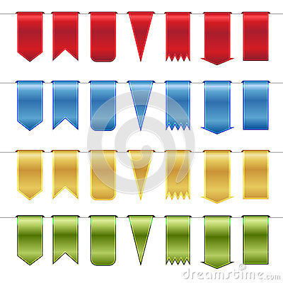 Free Set Of Red, Blue, Gold  And Green Glossy Ribbons Stock Image - 31548251