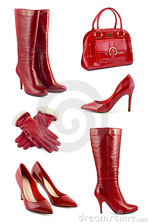 Free Set Of Red Clothing And Accessories Royalty Free Stock Images - 8252809