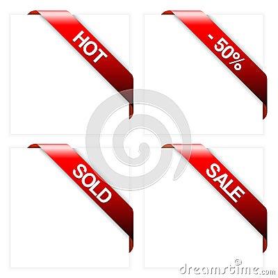 Free Set Of Red Corner Ribbons Royalty Free Stock Photo - 9489975