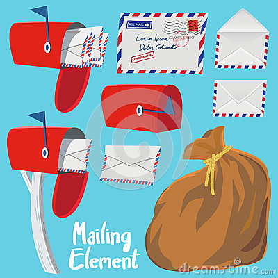 Free Set Of Red Mail Box,Letter Envelope And Mail Bag Royalty Free Stock Photography - 54068107