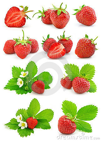 Free Set Of Red Strawberry Fruits With Green Leafs Royalty Free Stock Photography - 7819587