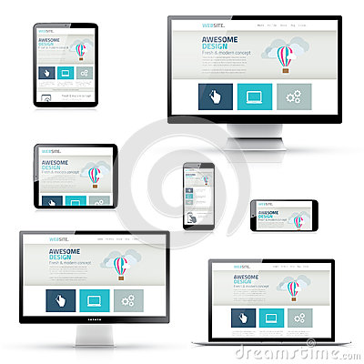 Free Set Of Responsive Website Designs In Electronic Devices Royalty Free Stock Photo - 43678665