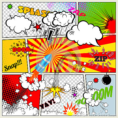Free Set Of Retro Comic Book Vector Design Elements, Speech And Thought Bubbles Stock Photography - 45387022