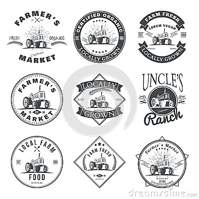Free Set Of Retro Farm Fresh Labels, Badges And Design Elements. Vector Stock Image - 83117111