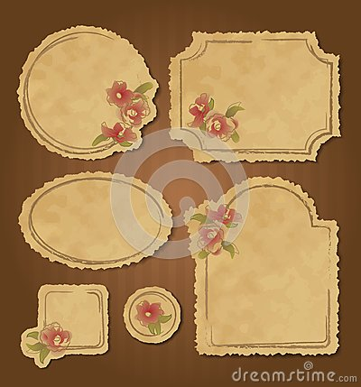 Free Set Of Retro Floral Vintage Frames And Labels Stock Photos - 28758203