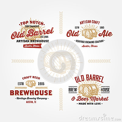 Free Set Of Retro Logo Designs With Wodden Barrels Royalty Free Stock Photography - 44969347