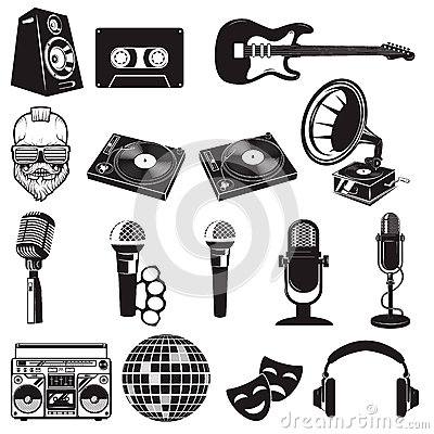 Free Set Of Retro Party Elements. Music Instruments Isolated On White Royalty Free Stock Photography - 82290327