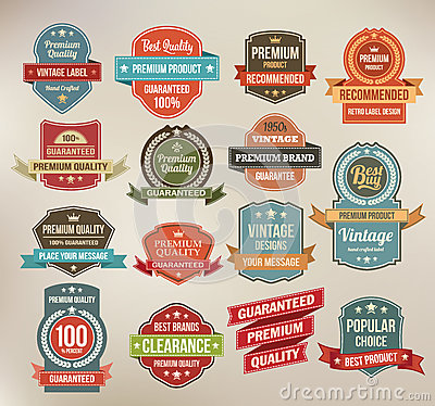 Free Set Of Retro Vector Label Stickers And Ribbons. Stock Images - 31798704