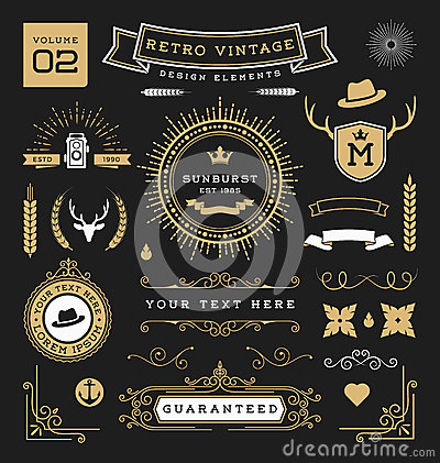 Free Set Of Retro Vintage Graphic Design Elements Royalty Free Stock Photography - 66663657