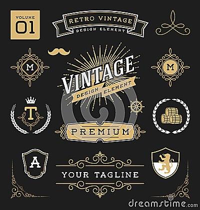 Free Set Of Retro Vintage Graphic Design Elements Stock Images - 66663734