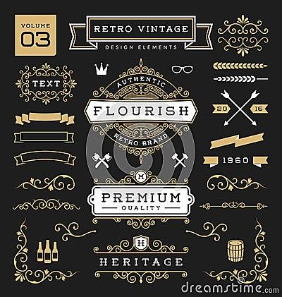 Free Set Of Retro Vintage Graphic Design Elements Royalty Free Stock Photo - 66663975