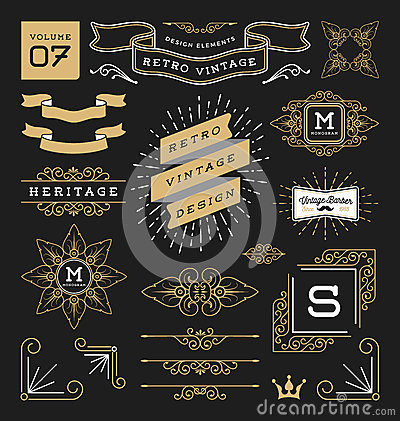 Free Set Of Retro Vintage Graphic Design Elements Stock Image - 67028491