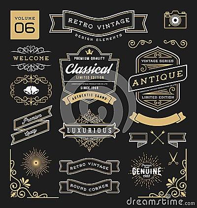 Free Set Of Retro Vintage Graphic Design Elements Royalty Free Stock Photos - 67028498