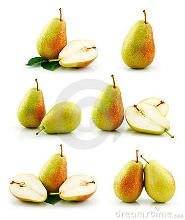 Free Set Of Ripe Pear Fruits Isolated On White Stock Images - 11462724