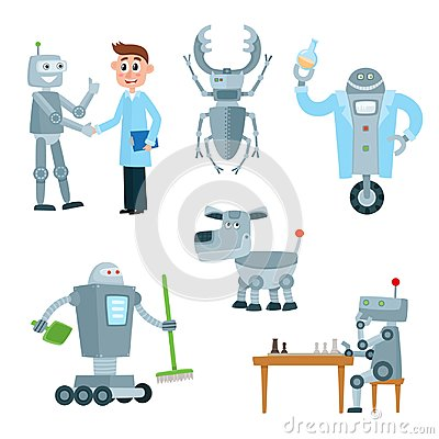 Free Set Of Robot Assistants, Friends, Companions Royalty Free Stock Photo - 107736755