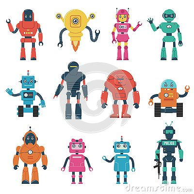 Free Set Of Robot Characters Royalty Free Stock Image - 126585626