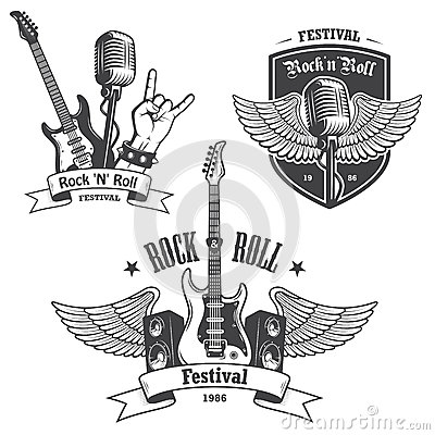 Free Set Of Rock And Roll Music Emblems. Royalty Free Stock Images - 47129219