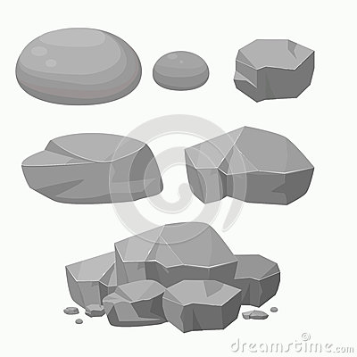 Free Set Of Rock Stone With Different Shape.Flat Vector Illustration. Stock Photos - 80456243