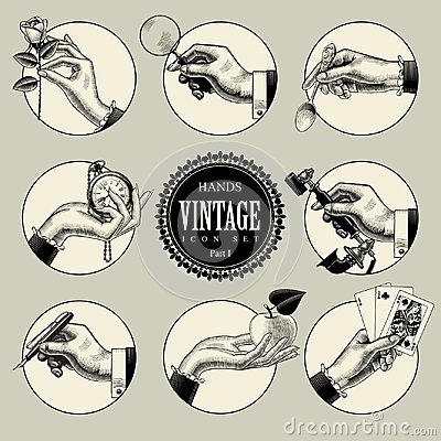 Free Set Of Round Icons In Vintage Engraving Style With Hands And Acc Royalty Free Stock Photos - 118312098