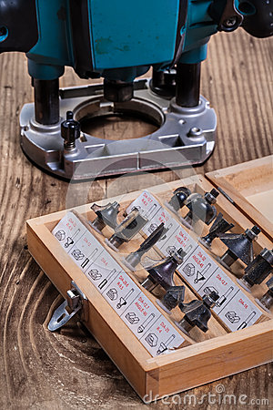 Free Set Of Roundover Router Bits For Woodworking In Wooden Box And P Royalty Free Stock Image - 43447436