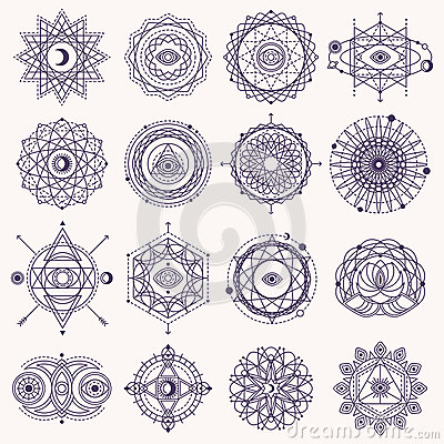 Free Set Of Sacred Geometry Signs Royalty Free Stock Image - 74653126