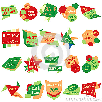 Free Set Of Sale Discount Labels, Tags, Emblems. Web Collection Of Stickers And Badges For Sale Stock Images - 84634204