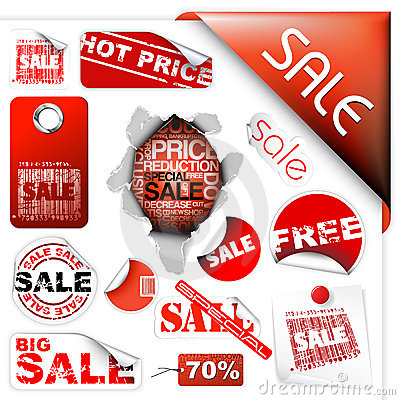 Free Set Of Sale Tickets, Labels, Stamps, Stickers Stock Photo - 10989800
