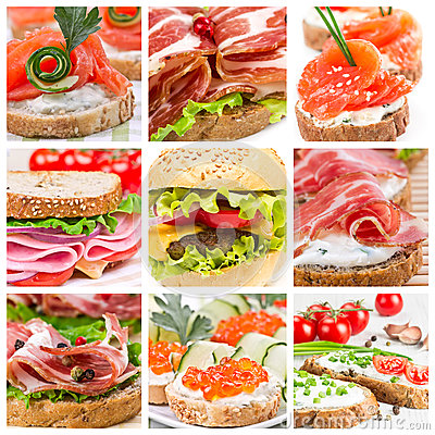 Free Set Of Sandwiches Royalty Free Stock Images - 32786999