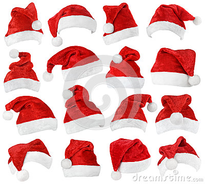 Free Set Of Santa Claus Red Hats Stock Photography - 57867152