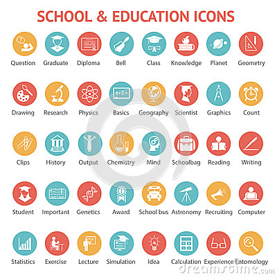 Free Set Of School And Education Icons Stock Photo - 41011870