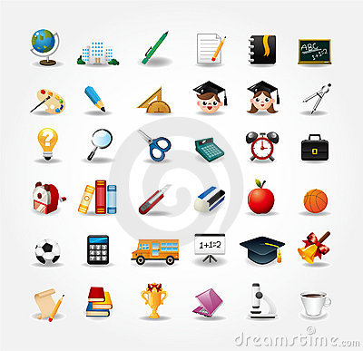 Free Set Of School Icons, Back To School Button Royalty Free Stock Photos - 20719728
