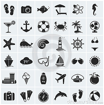 Free Set Of Sea And Beach Icons. Vector Illustration. Royalty Free Stock Image - 39694556