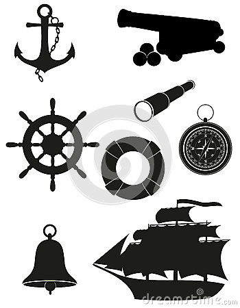 Free Set Of Sea Antique Icons Vector Illustration Royalty Free Stock Image - 28639516