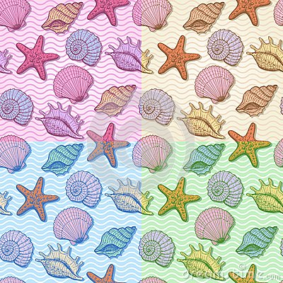 Free Set Of Sea Hand Drawn Seamless Pattern Royalty Free Stock Photos - 28061118