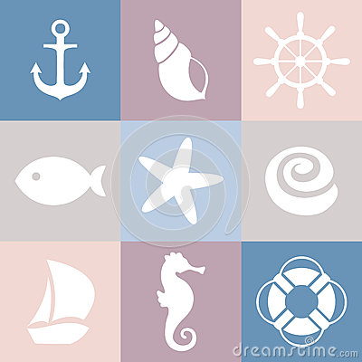 Free Set Of Sea Icons. Shell, Starfish, Fish, Anchor, Steering Wheel, Life Preserver, Ship, Sea Horse. Royalty Free Stock Images - 48437009