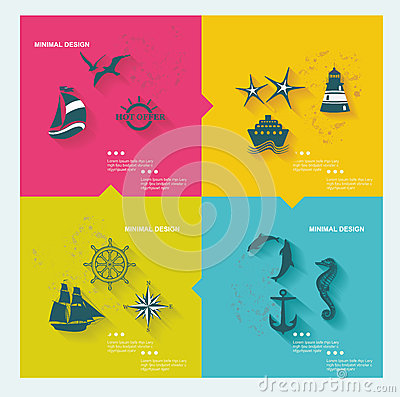 Free Set Of Sea Labels Royalty Free Stock Photos - 38262088