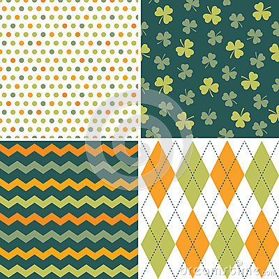 Free Set Of Seamless Background Patterns In Green And O Stock Image - 39461741