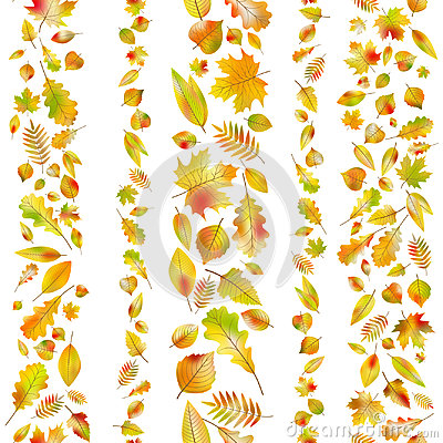 Free Set Of Seamless Borders From Autumn Leaves. EPS 10 Vector Royalty Free Stock Image - 96682306