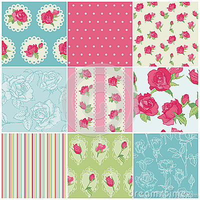 Free Set Of Seamless Floral Rose Backgrounds Royalty Free Stock Photo - 27281315