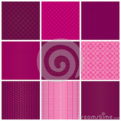 Free Set Of Seamless Magenta Patterns Stock Photography - 80263892