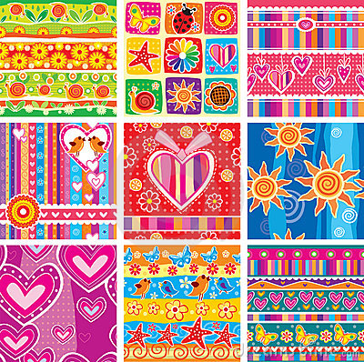 Free Set Of Seamless Pattern Royalty Free Stock Image - 21159056