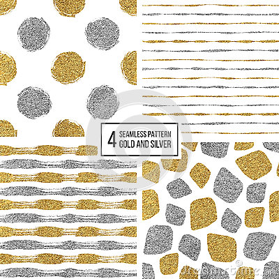 Free Set Of Seamless Pattern Gold And Silver Stripes, Polka Dots, Mosaic Spots Stock Images - 78793184