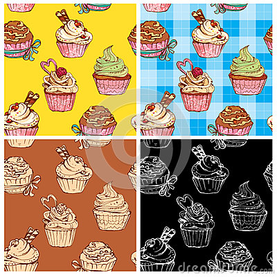 Free Set Of Seamless Patterns With Decorated Sweet Cupcakes Royalty Free Stock Images - 45838949