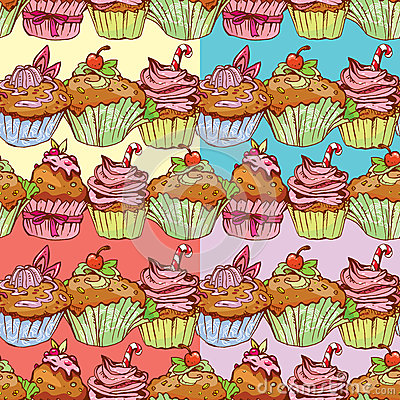Free Set Of Seamless Patterns With Decorated Sweet Cupcakes Stock Images - 45838954