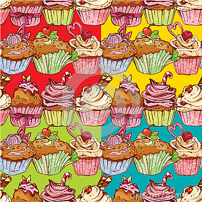 Free Set Of Seamless Patterns With Decorated Sweet Cupcakes Royalty Free Stock Image - 45838956