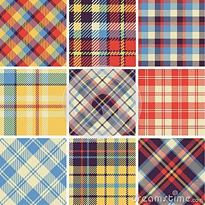 Free Set Of Seamless Tartan Patterns Royalty Free Stock Photos - 40637788